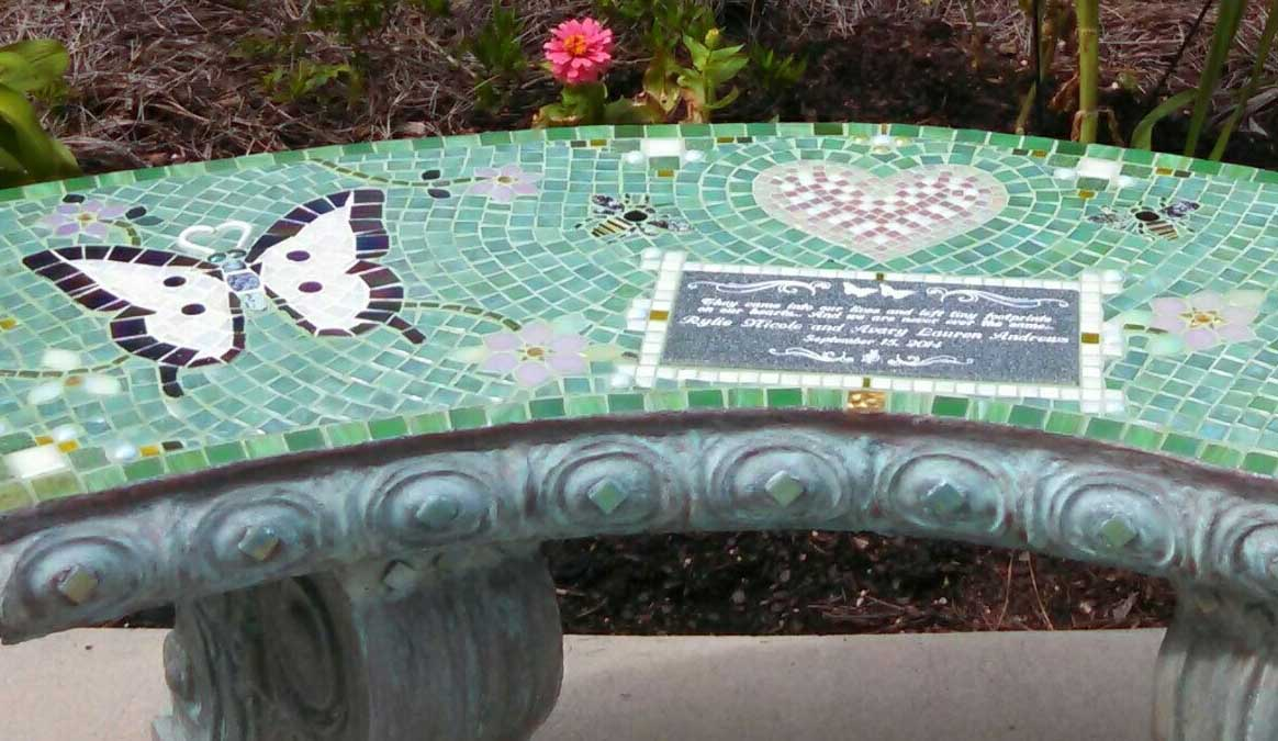 Mosaic Memorial Garden Bench of Rylie's and Avary's White Butterflies Closeup by Water's End Studio Artist Linda Solby