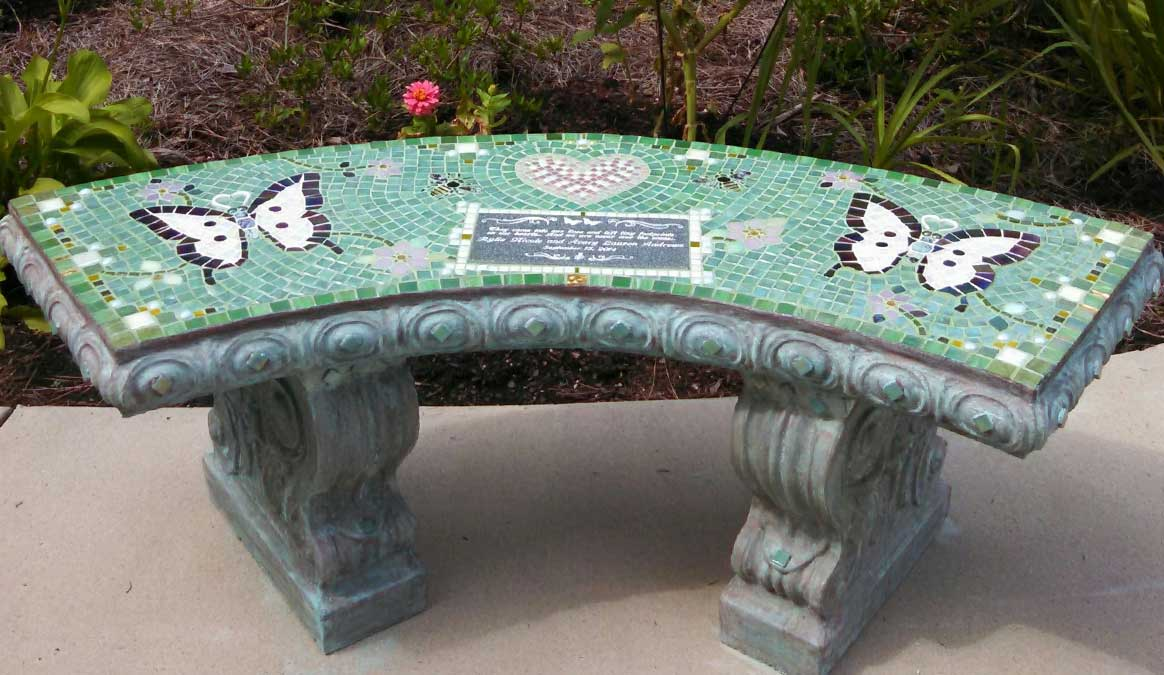 Mosaic Memorial Garden Bench of Rylie's and Avary's White Butterflies by Water's End Studio Artist Linda Solby