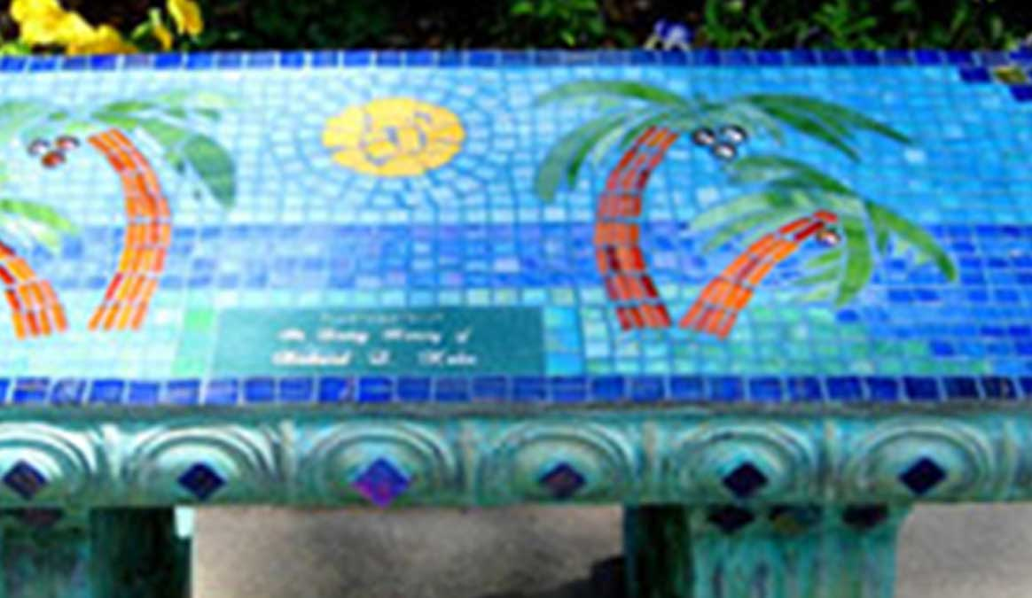 Mosaic Memorial Garden Bench of Palm Trees Closeup by Water's End Studio Artist Linda Solby