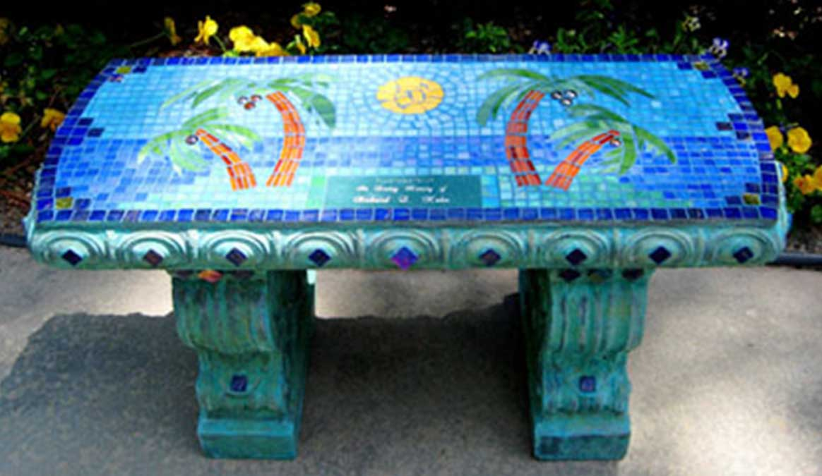 Mosaic Memorial Garden Bench of Palm Trees by Water's End Studio Artist Linda Solby