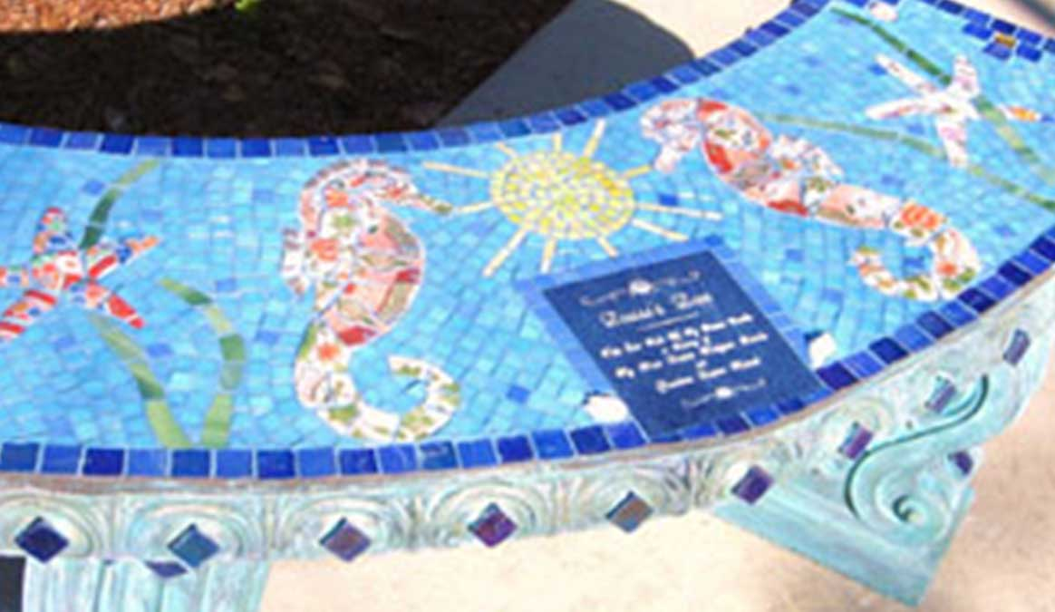 Mosaic Memorial Garden Bench of Seahorses Closeup by Water's End Studio Artist Linda Solby