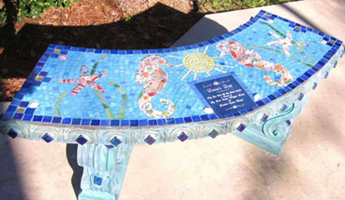 Mosaic Memorial Garden Bench of Seahorses by Water's End Studio Artist Linda Solby