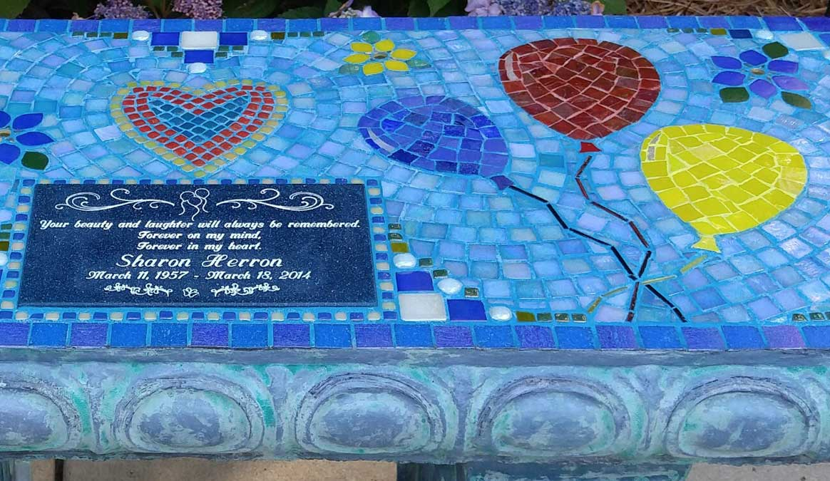 Mosaic Memorial Garden Bench of Sharon's Balloons Closeup by Water's End Studio Artist Linda Solby
