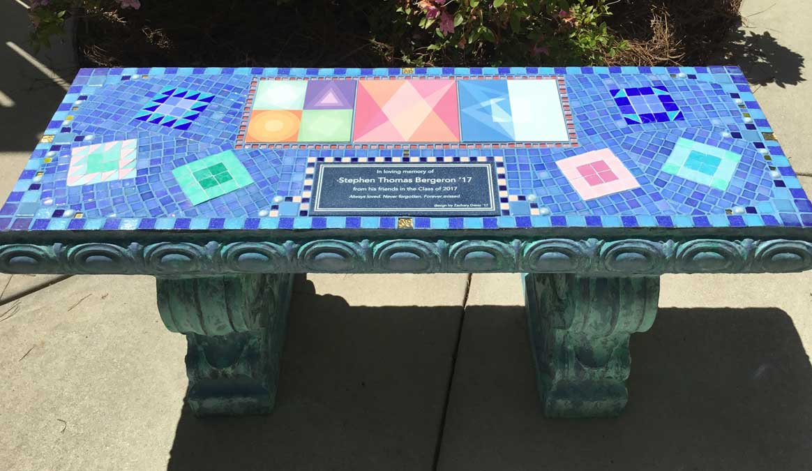 Mosaic Memorial Garden Bench of Stephen's Memorial by Water's End Studio Artist Linda Solby