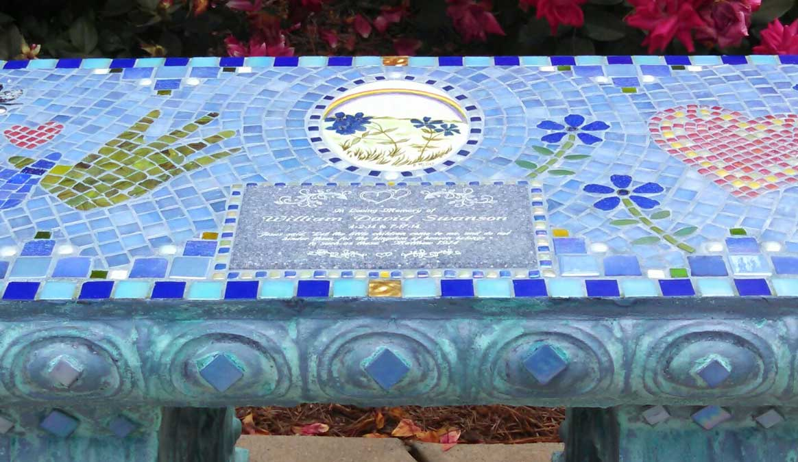 Mosaic Memorial Garden Bench of Sweet William's Design Closeup by Water's End Studio Artist Linda Solby