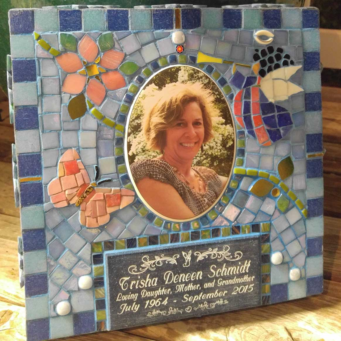 Mosaic Memorial Garden Art Stone of Trisha's Angel by Water's End Studio Artist Linda Solby