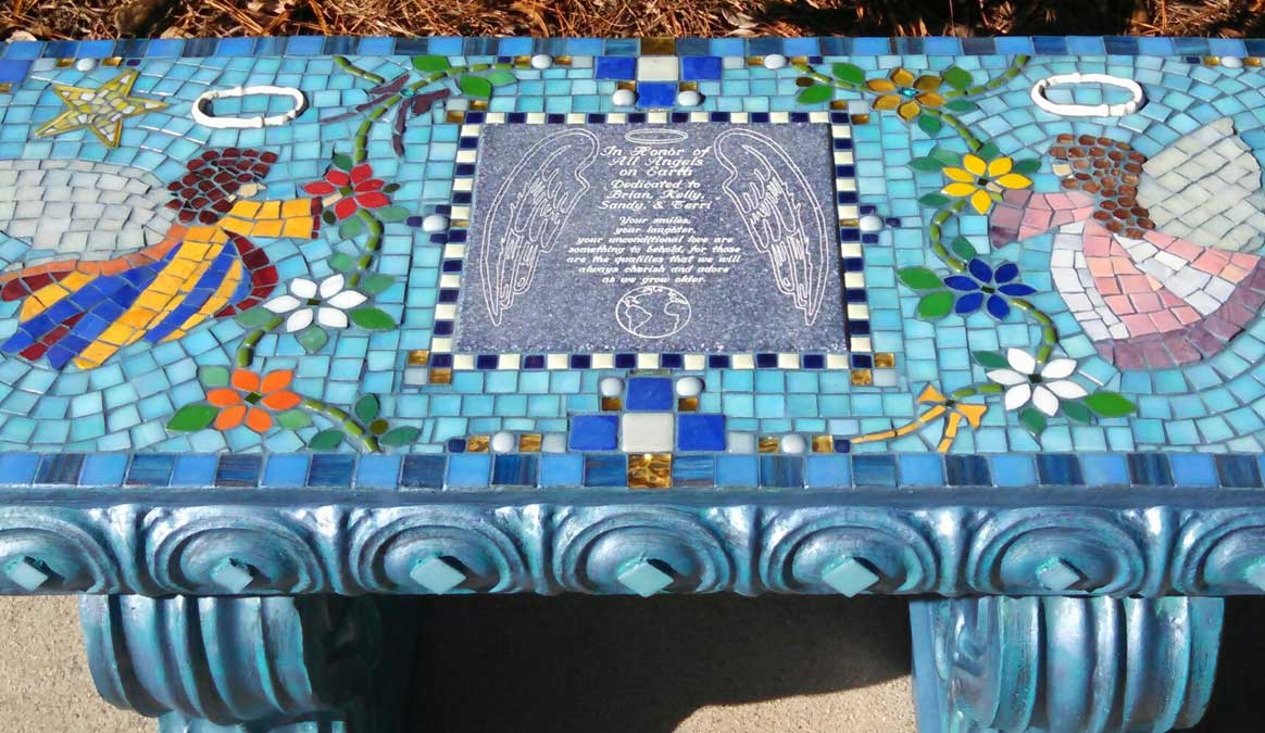 Mosaic Memorial Garden Bench of Two Angels Closeup by Water's End Studio Artist Linda Solby