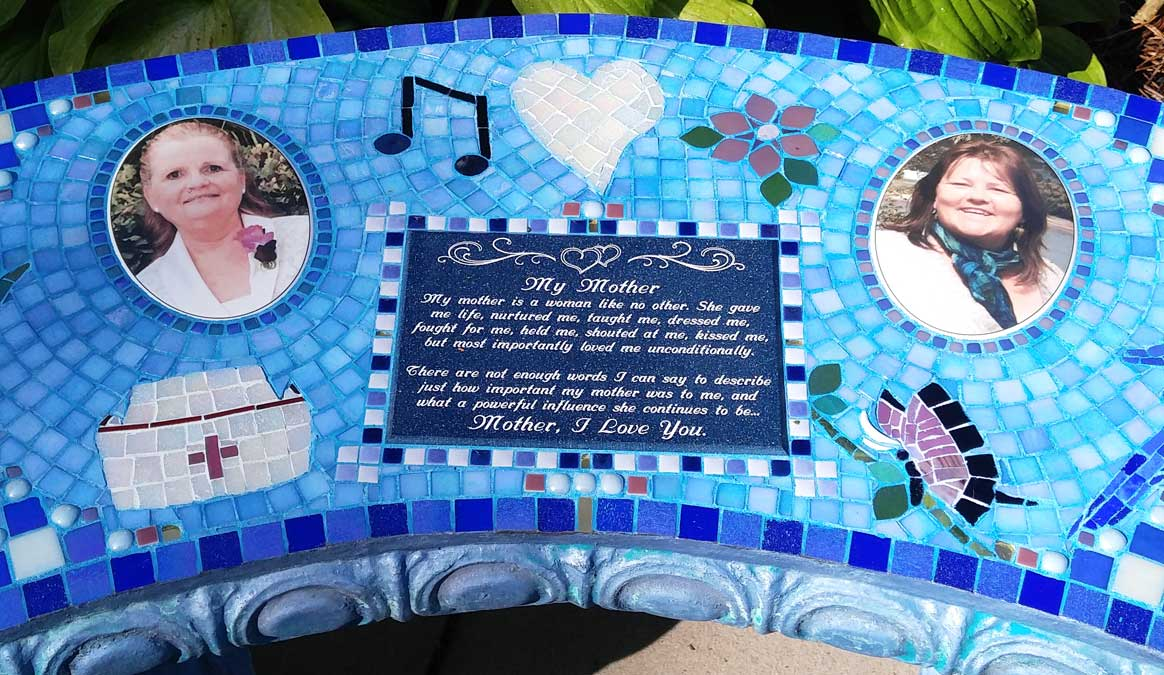 Mosaic Memorial Garden Bench with Portrait Tiles of Two Mothers Closeup by Water's End Studio Artist Linda Solby