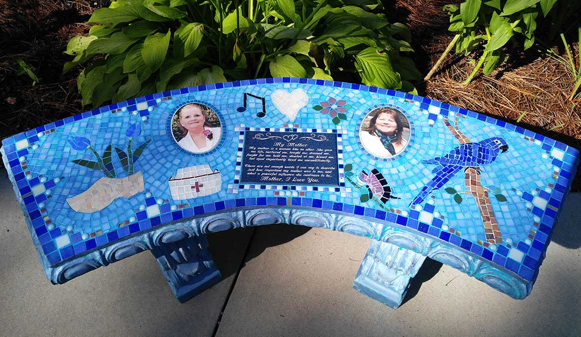 Mosaic Memorial Garden Bench with Portrait Tiles of Two Mothers by Water's End Studio Artist Linda Solby
