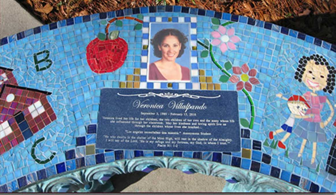 Mosaic Memorial Garden Bench with Portrait Tiles of Veronica's School, Family and Symbols Closeup by Water's End Studio Artist Linda Solby
