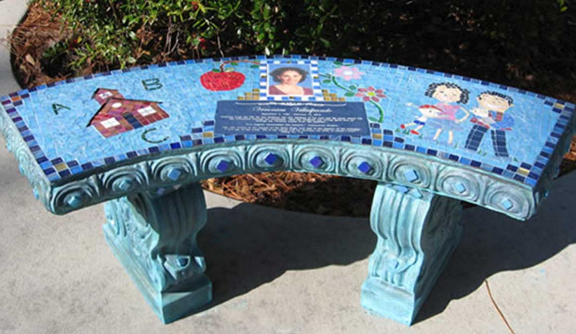 Mosaic Memorial Garden Bench with Portrait Tiles of Veronica's School, Family and Symbols by Water's End Studio Artist Linda Solby