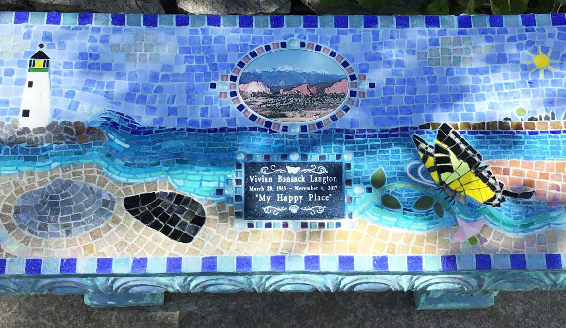 Mosaic Memorial Garden Bench of Vivian's Happy Place Beach Scene Closeup by Water's End Studio Artist Linda Solby