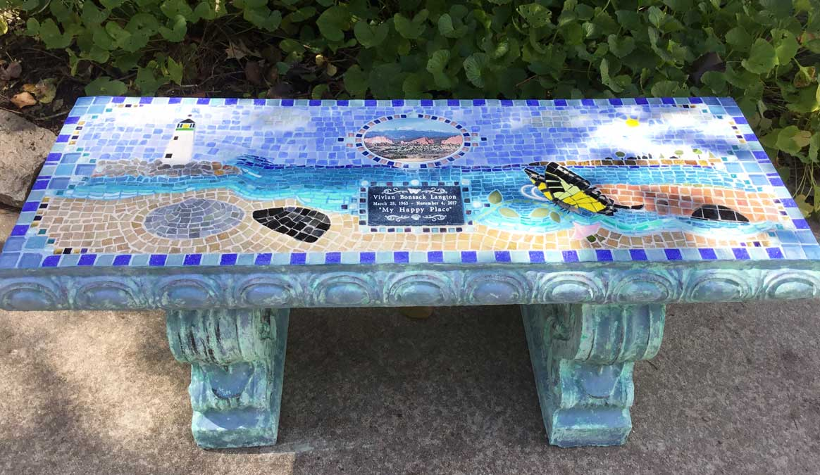Mosaic Memorial Garden Bench of Vivian's Happy Place Beach Scene by Water's End Studio Artist Linda Solby