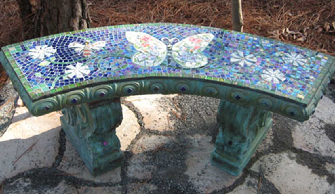 Butterflies And Dragonflies Mosaic Memorial Benches