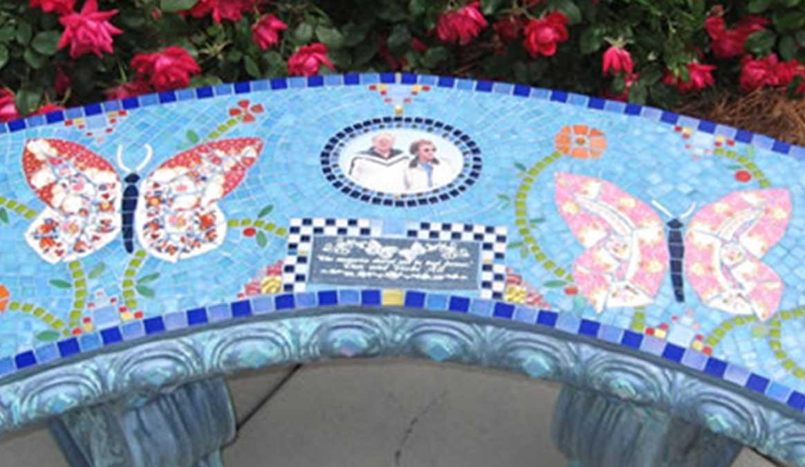 Mosaic Memorial Garden Bench with Portrait Tiles of Alt's Butterflies Closeup by Water's End Studio Artist Linda Solby