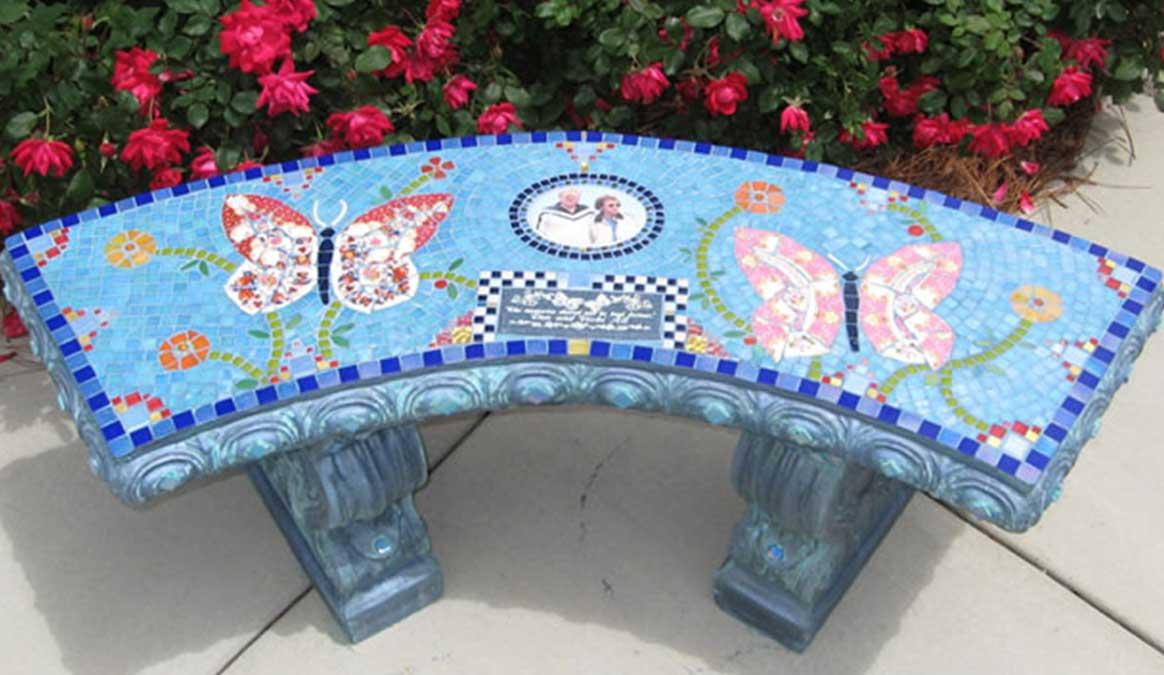 Mosaic Memorial Garden Bench with Portrait Tiles of Alt's Butterflies by Water's End Studio Artist Linda Solby