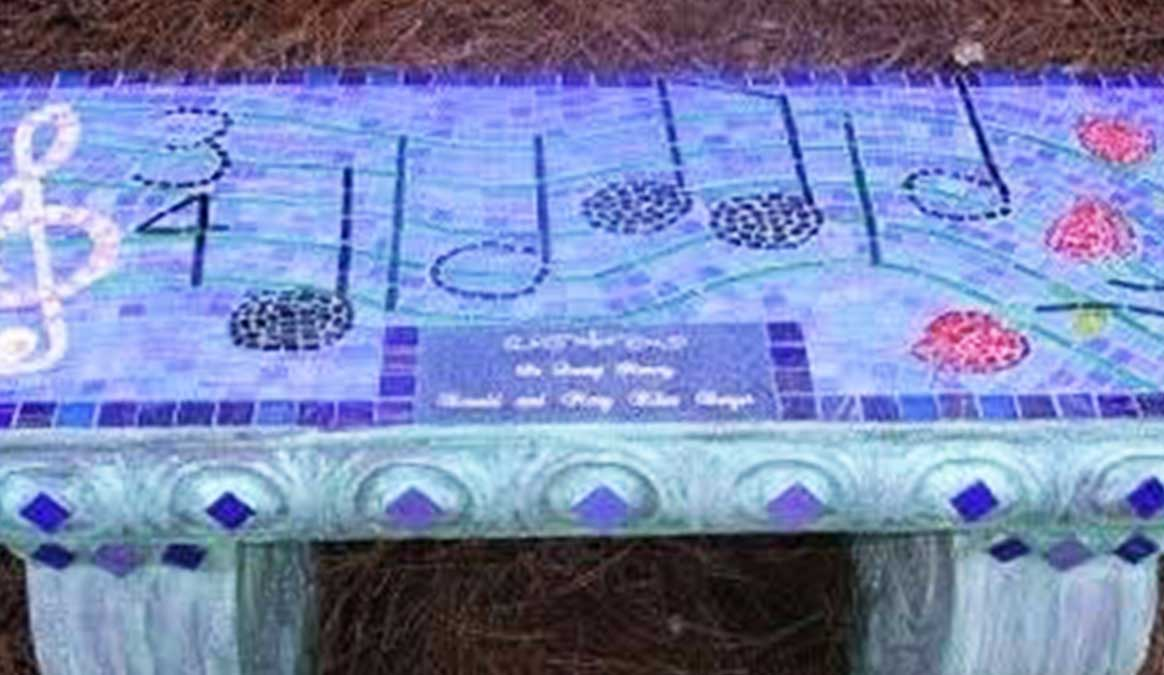 Mosaic Memorial Garden Bench of Amazing Grace Music Notes Closeup by Water's End Studio Artist Linda Solby