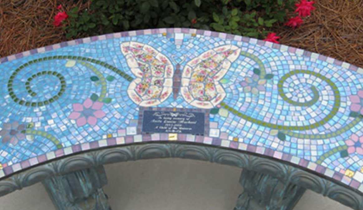 Mosaic Memorial Garden Bench of Anita's Butterfly Closeup by Water's End Studio Artist Linda Solby