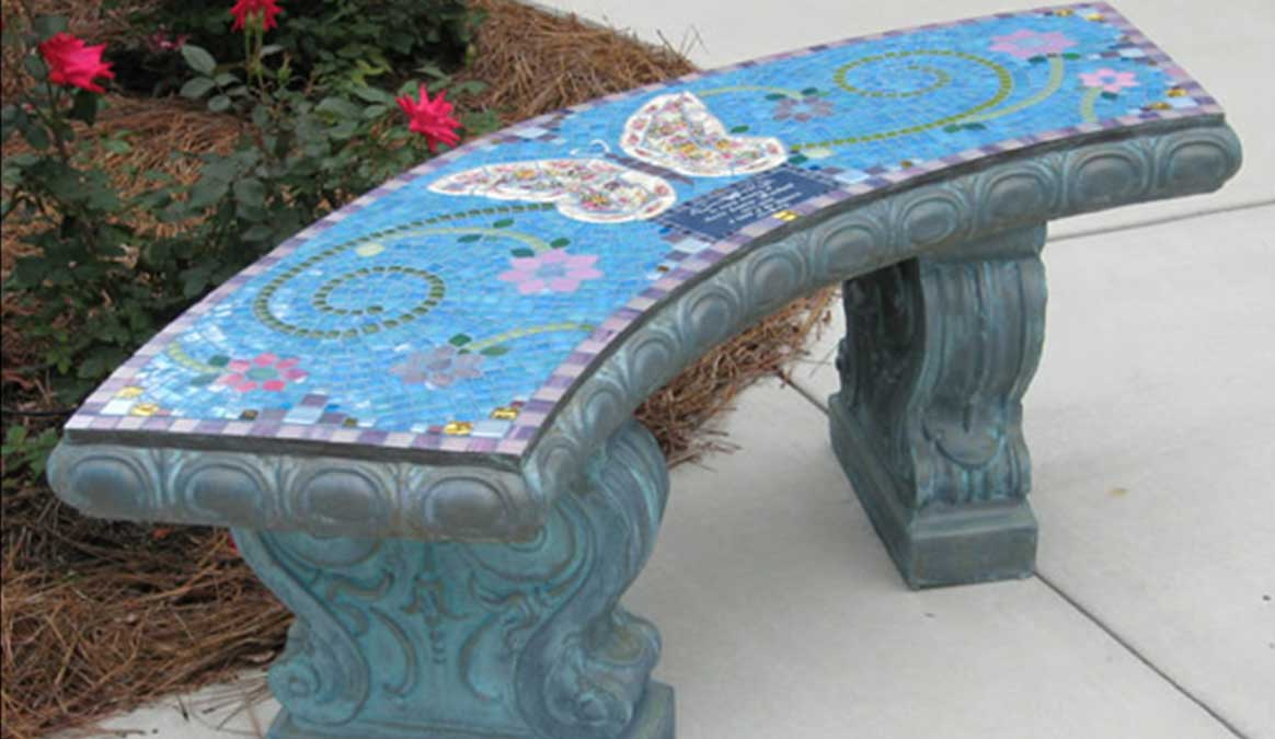Mosaic Memorial Garden Bench of Anita's Butterfly by Water's End Studio Artist Linda Solby