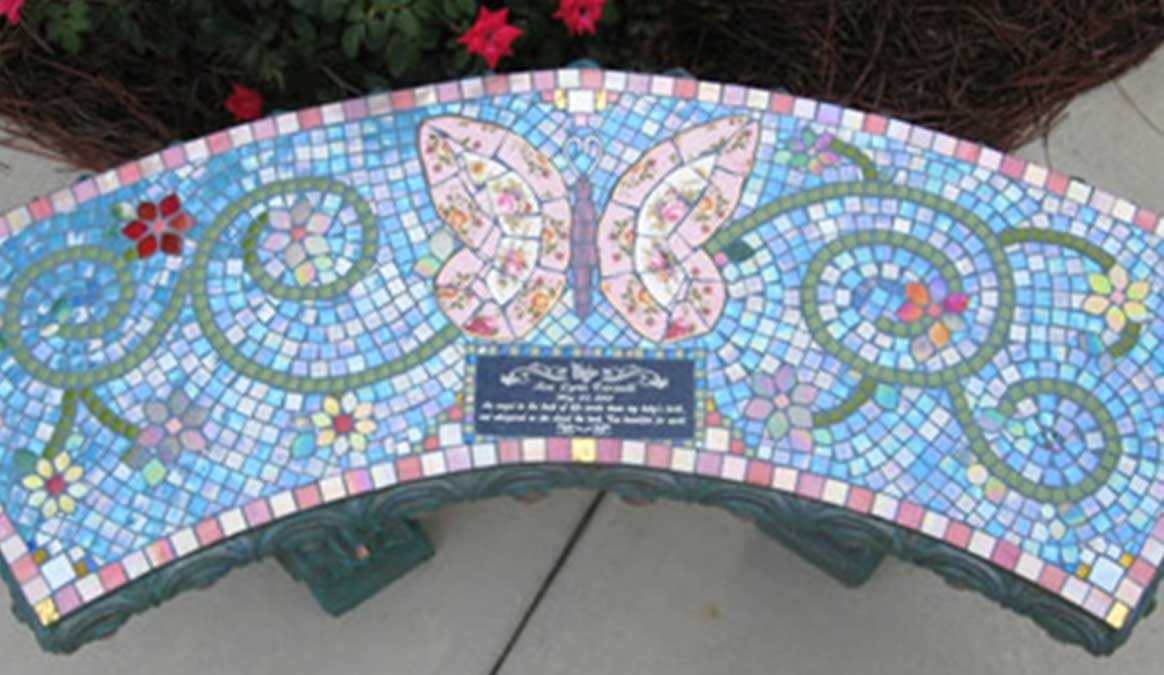 Mosaic Memorial Garden Bench of Ava's Pink Butterfly Clolseup by Water's End Studio Artist Linda Solby