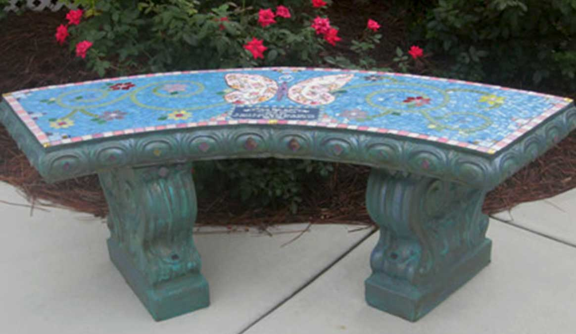 Mosaic Memorial Garden Bench of Ava's Pink Butterfly by Water's End Studio Artist Linda Solby