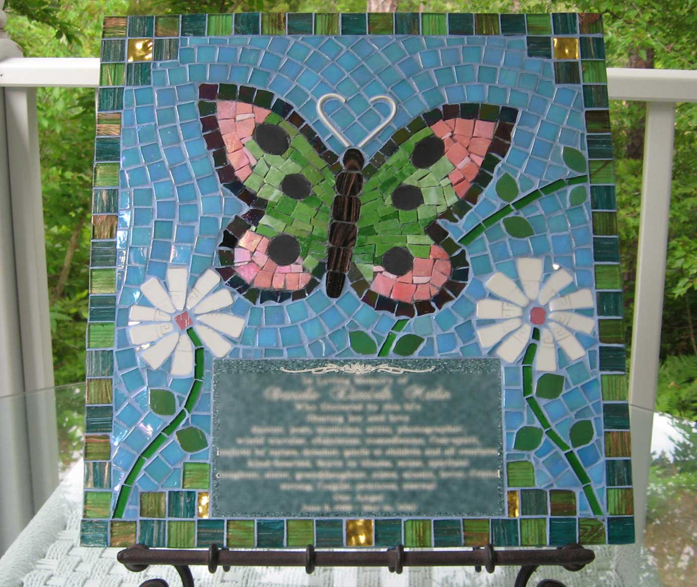 Mosaic Memorial Picture Plaque of Danielle's Butterfly by Water's End Studio Artist Linda Solby