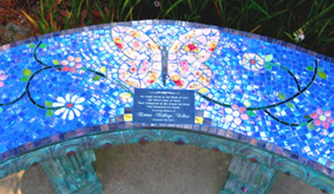 Mosaic Memorial Garden Bench of Emma's Pink Butterfly Closeup by Water's End Studio Artist Linda Solby