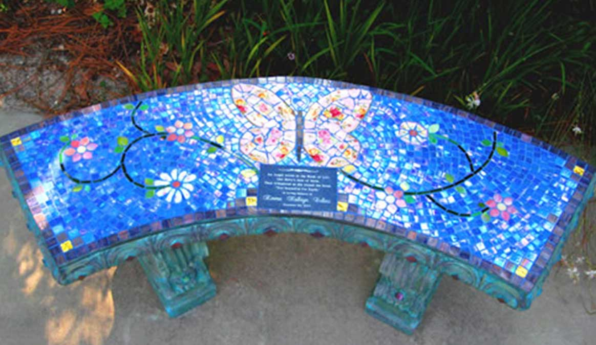 Mosaic Memorial Garden Bench of Emma's Pink Butterfly by Water's End Studio Artist Linda Solby