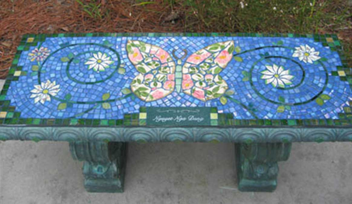 Mosaic Memorial Garden Bench of Green and PInk Butterfly by Water's End Studio Artist Linda Solby