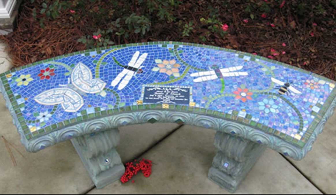 Mosaic Memorial Garden Bench of James' Garden Friends Butterfly Dragonflies and Bee by Water's End Studio Artist Linda Solby