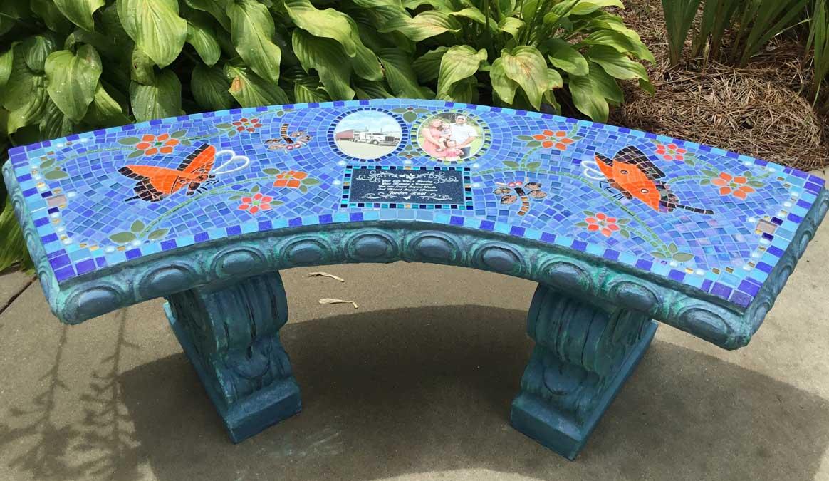 Mosaic Memorial Garden Bench with Portrait Tiles of Jordan's Orange Butterflies by Water's End Studio Artist Linda Solby