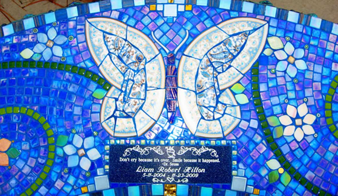 Mosaic Memorial Garden Bench of Liam's Blue Butterfly Closeup by Water's End Studio Artist Linda Solby