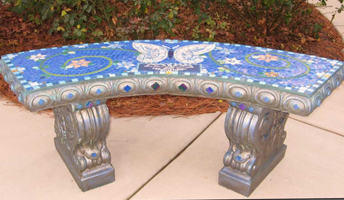 Mosaic Memorial Garden Bench of Liam's Blue Butterfly by Water's End Studio Artist Linda Solby