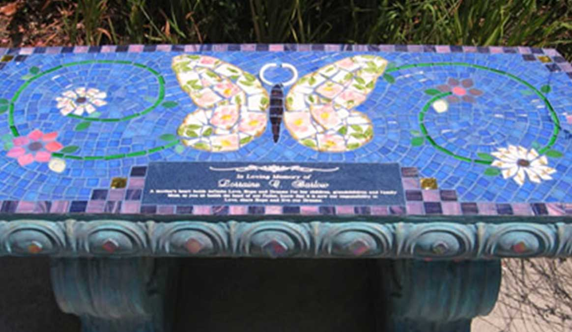 Mosaic Memorial Garden Bench of Lorraine's Butterfly Closeup by Water's End Studio Artist Linda Solby