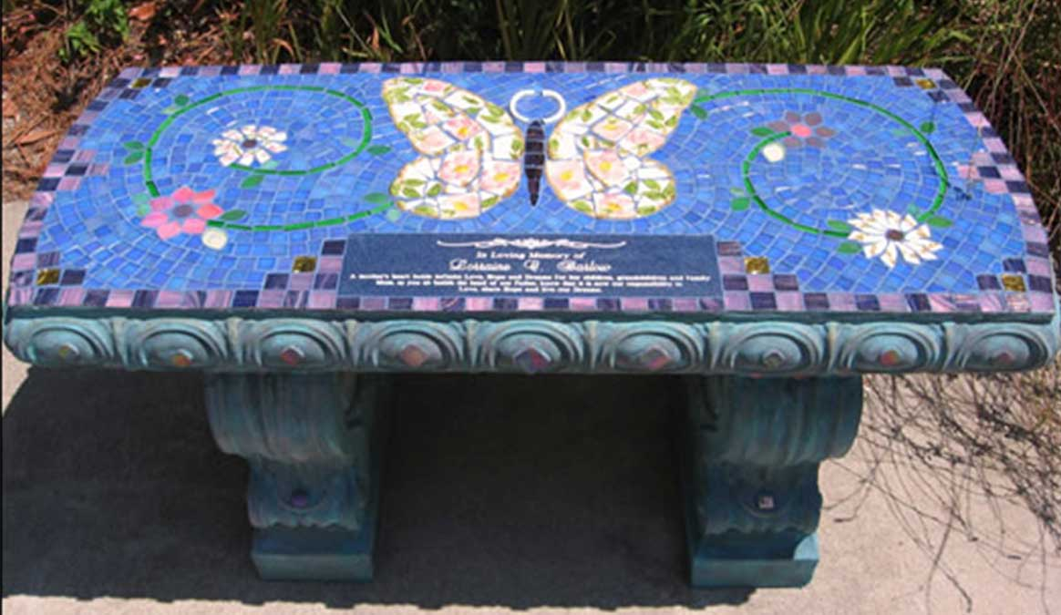 Mosaic Memorial Garden Bench of Lorraine's Butterfly by Water's End Studio Artist Linda Solby
