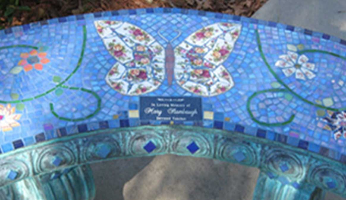 Mosaic Memorial Garden Bench of Mary's Butterfly Closeup by Water's End Studio Artist Linda Solby