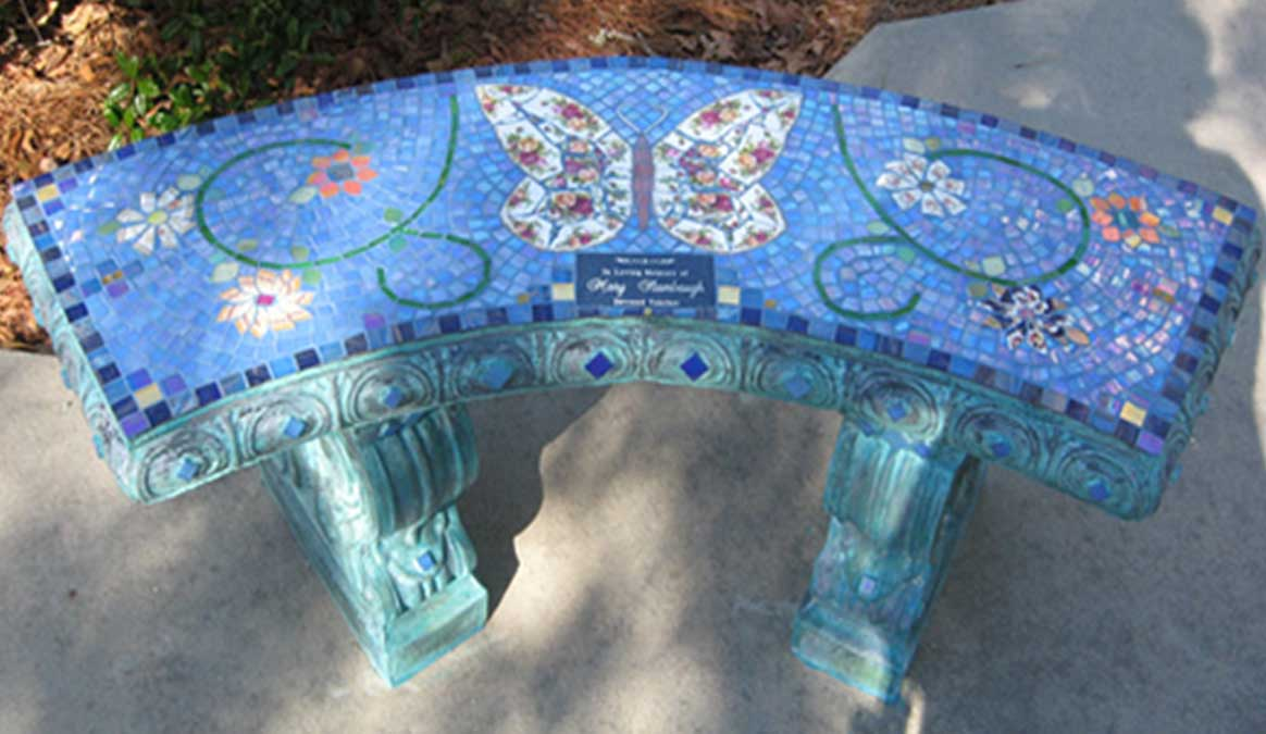 Mosaic Memorial Garden Bench of Mary's Butterfly by Water's End Studio Artist Linda Solby