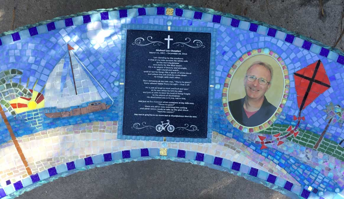 Mosaic Memorial Garden Bench with Portrait Tiles of Michael's Favorite Place Closeup by Water's End Studio Artist Linda Solby