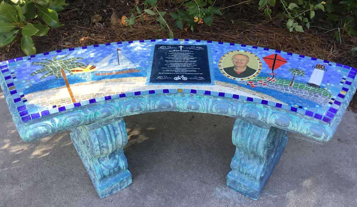 Mosaic Memorial Garden Bench with Portrait Tiles of Michael's Favorite Place by Water's End Studio Artist Linda Solby