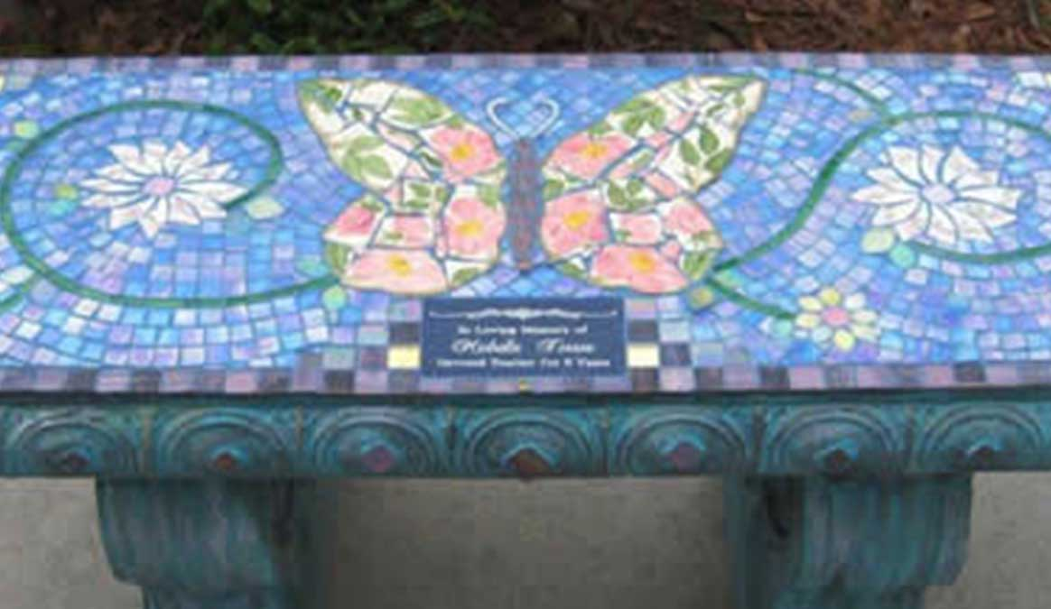 Mosaic Memorial Garden Bench of Michelle's Butterfly Closeup by Water's End Studio Artist Linda Solby