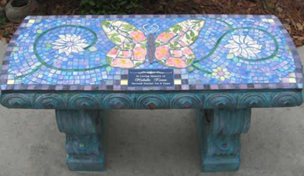 Mosaic Memorial Garden Bench of Michelle's Butterfly by Water's End Studio Artist Linda Solby