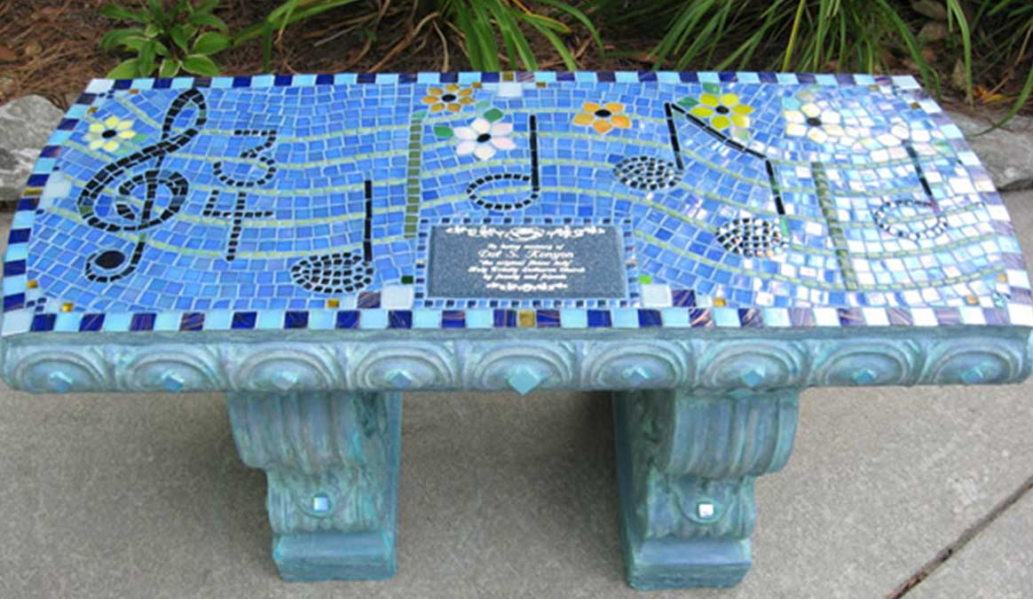 Mosaic Memorial Garden Bench of Mother's Amazing Grace Music by Water's End Studio Artist Linda Solby