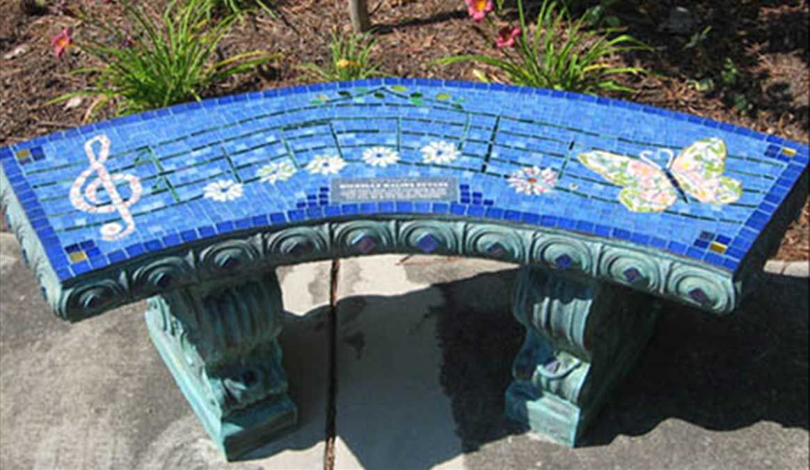 Mosaic Memorial Garden Bench of Music and Butterfly by Water's End Studio Artist Linda Solby