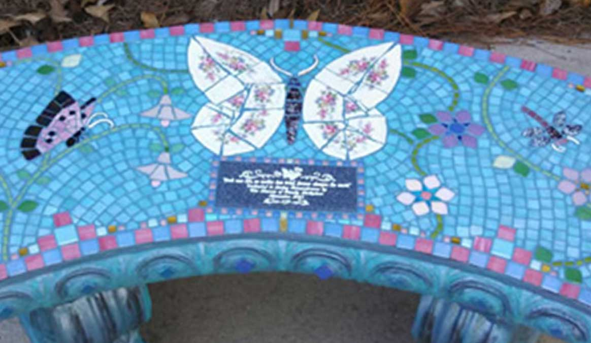 Mosaic Memorial Garden Bench of Norman's Butterflies and Dragonflies Closeup by Water's End Studio Artist Linda Solby
