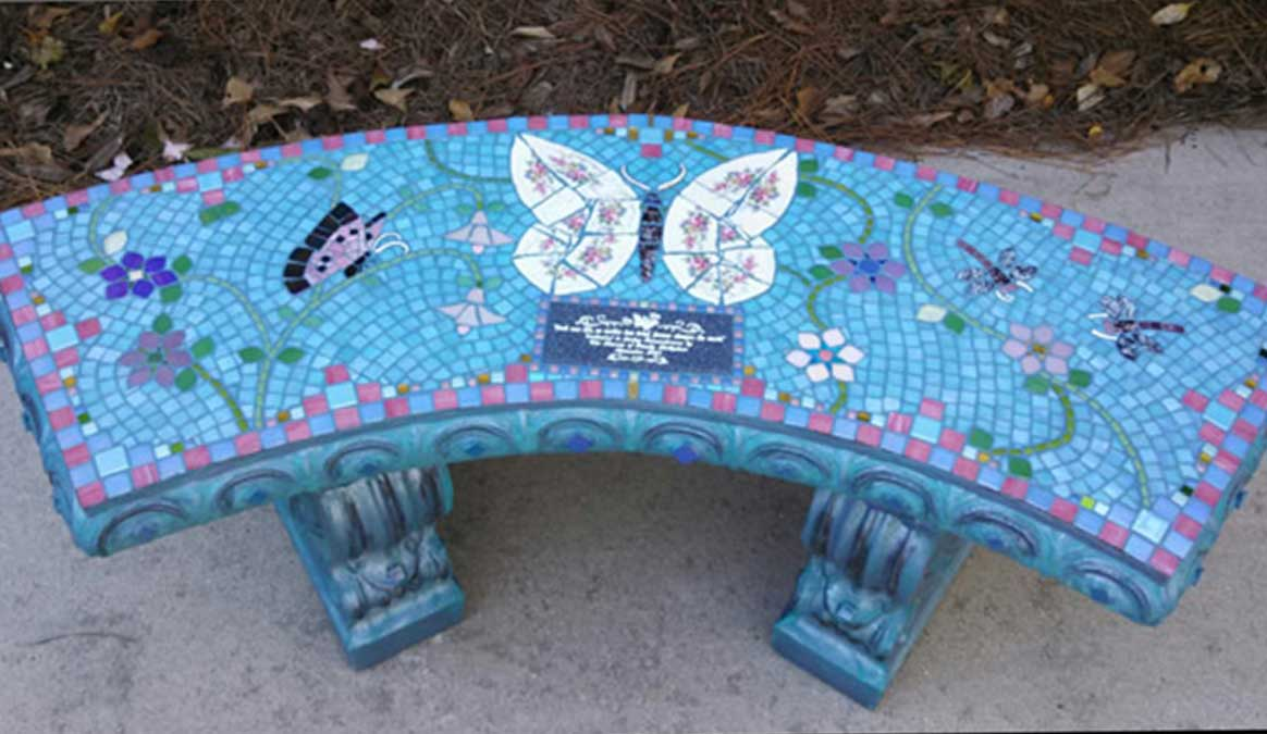 Mosaic Memorial Garden Bench of Norman's Butterflies and Dragonflies by Water's End Studio Artist Linda Solby