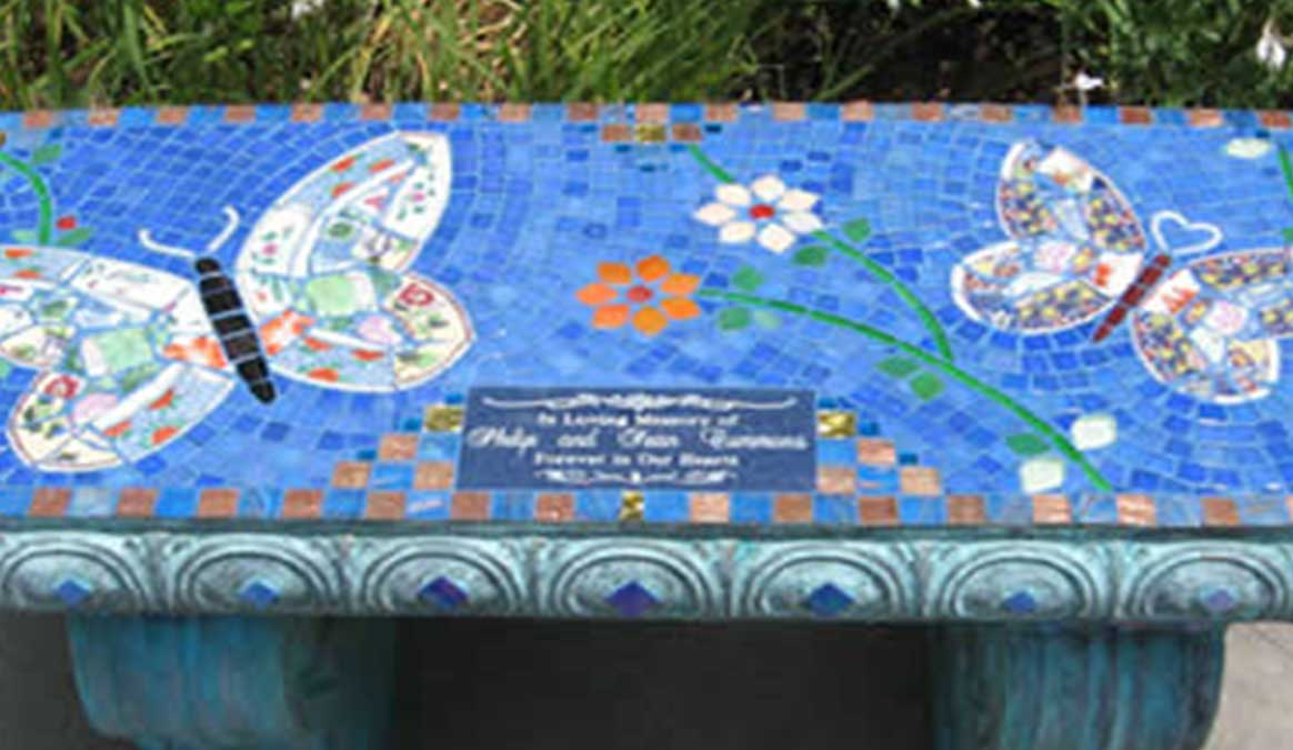 Mosaic Memorial Garden Bench of Philip and Sean's Butterflies Closeup by Water's End Studio Artist Linda Solby