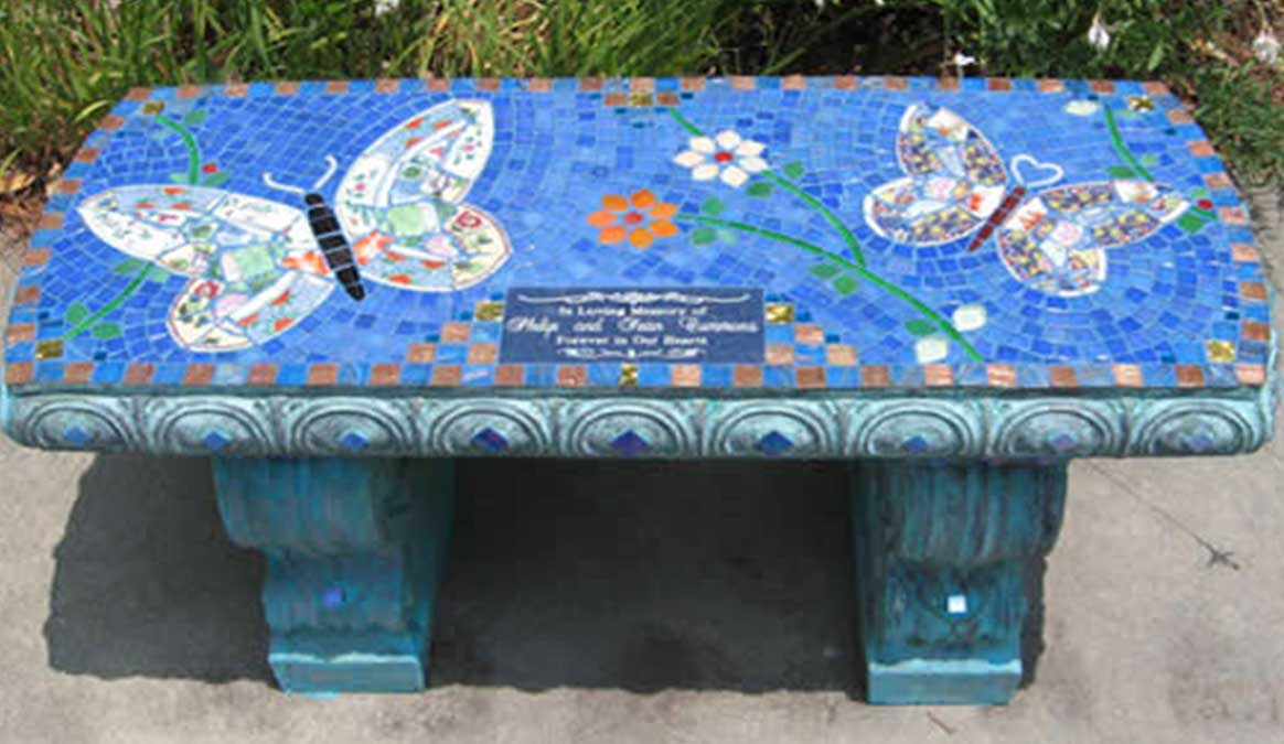 Mosaic Memorial Garden Bench of Philip and Sean's Butterflies by Water's End Studio Artist Linda Solby