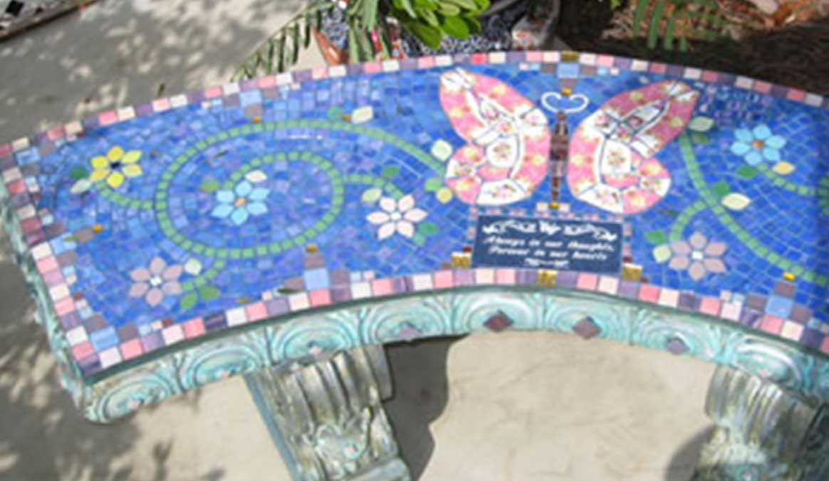Mosaic Memorial Garden Bench of Pink Butterfly Closeup by Water's End Studio Artist Linda Solby