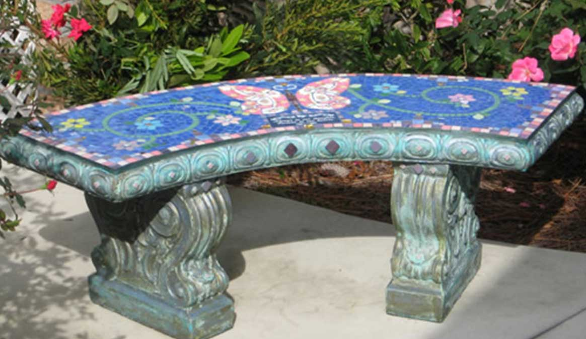 Mosaic Memorial Garden Bench of Pink Butterfly by Water's End Studio Artist Linda Solby