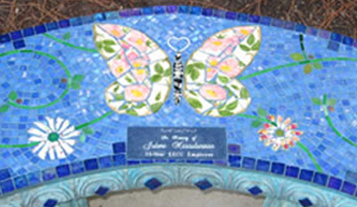 Mosaic Memorial Garden Bench of PInk Floral Butterfly Closeup by Water's End Studio Artist Linda Solby
